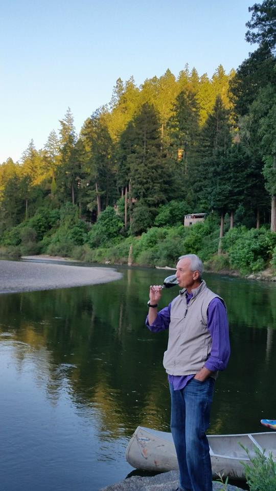 Dad drinking wine on the Russian River